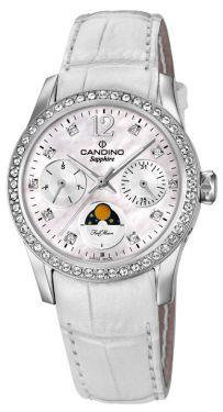 Candino Damen Armbanduhr C4596/1 Mondphase Saphirglas Lederarmband