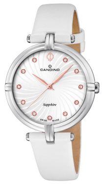 Candino Damenuhr C4599/1 Armbanduhr Lederband weiß