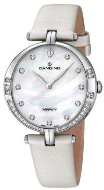 Candino Damen Armbanduhr C4601/1 Lederband creme Strass