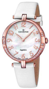 Candino Damen Armbanduhr C4602/2 Leder/Textilband weiß Strass