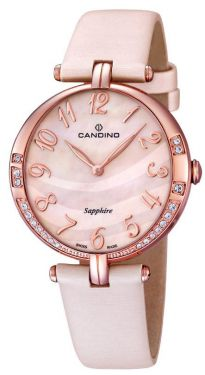 Candino Damen Armbanduhr C4602/3 Leder/Textilband rosé Strass