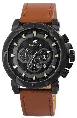 Carucci Herrenuhr Chronograph Lederarmband braun CA2218BK