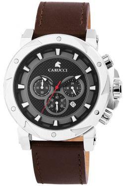 Carucci Herrenuhr Chronograph Lederarmband dunkelbraun CA2218SL