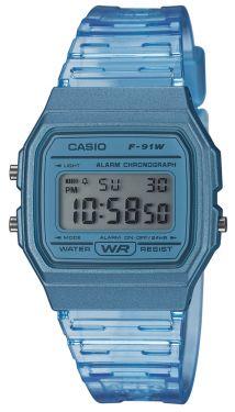 Casio Uhr Digital Armbanduhr transparent blau F-91WS-2EF