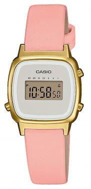 Casio Uhr Retro Damenuhr LA670WEFL-4A2EF Lederarmband rosa