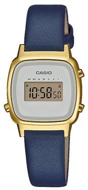 Casio Uhr Retro Damenuhr LA670WEFL-2EF Lederarmband blau