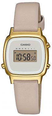 Casio Uhr Retro Damenuhr LA670WEFL-9EF Lederarmband beige