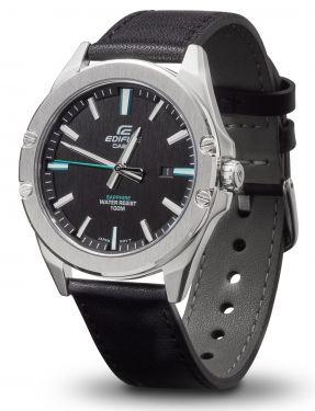 Casio Herren Armbanduhr Lederarmband EFR-S107L-1AVUEF Saphirglas vorne
