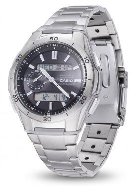 Casio Herren Funkuhr WVA-M650TD-1AER Solar Armbanduhr Titanband vorne