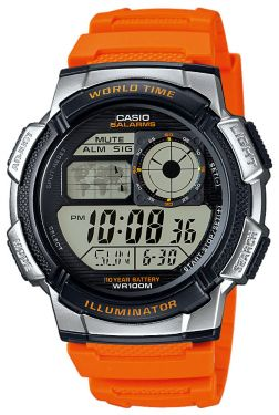 Casio Digital Uhr World Time AE-1000W-4BVEF orange