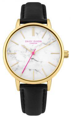 DAISY DIXON Damenuhr Armbanduhr Lederband schwarz DD095BG