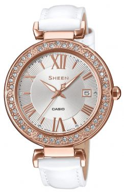 Casio Damenuhr Armbanduhr Sheen SHE-4057PGL-7AUER Lederarmband weiß