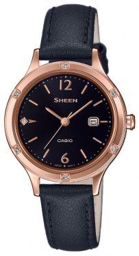Casio Damenuhr Armbanduhr Sheen SHE-4533PGL-1AUER Lederband schwarz