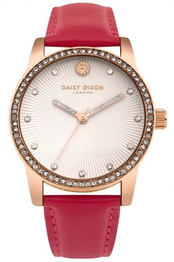 DAISY DIXON Damenuhr Armbanduhr Lederband rot DD089PRG
