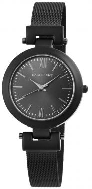 Damenuhr schwarz Armbanduhr Edelstahl Mesh Analog Quarz Uhr