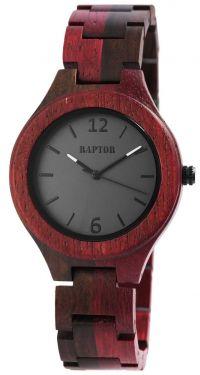 Raptor Damen Uhr Holz Armbanduhr rotbraun gemasert Holzuhr RA10191-001