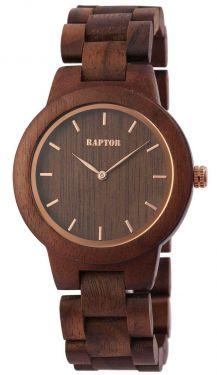 Raptor Damen Uhr Holz Armbanduhr braun rosegold Holzuhr RA10208-002