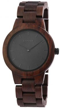 Raptor Damen Uhr Holz Armbanduhr braun schwarz Holzuhr RA10208-003