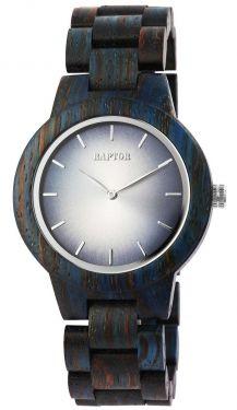 Raptor Damen Uhr Holz Armbanduhr braun blau Holzuhr RA10208-004