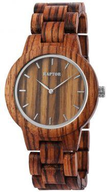 Raptor Damen Uhr Holz Armbanduhr braun gemasert Holzuhr RA10208-006