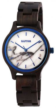 Raptor Damen Uhr Holz Armbanduhr dunkelbraun blau Holzuhr RA10209-005