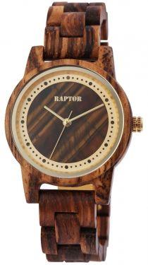 Raptor Damen Uhr Holz Armbanduhr braun golden Holzuhr RA10210-003