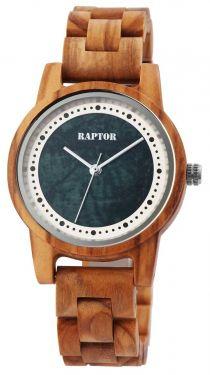 Raptor Damen Uhr Holz Armbanduhr braun blau Holzuhr RA10210-004