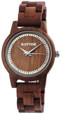 Damen Uhr Holzuhr Armbanduhr dunkelbraun Raptor RA20042-004