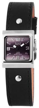 Just Damen Uhr Echt Leder JU10155-013 schwarz Armbanduhr eckig