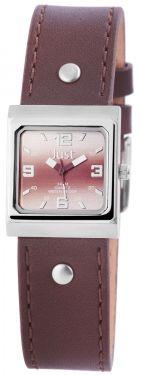 Just Damen Uhr Echt Leder JU10155-015 rot Armbanduhr eckig