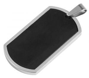 Dogtag Ketten-Anhänger schwarz glänzend für Halskette Akzent schräg