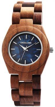 Excellanc Damen Holz Uhr Gliederarmband Holzuhr braun blau 1800192-003