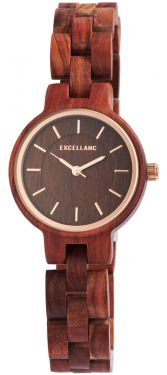 Damen Armbanduhr Holz 1800194-001 Excellanc Uhr rotbraun Holzuhr