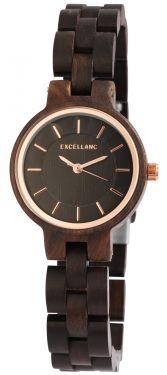 Damen Armbanduhr Holz 1800194-003 Excellanc Uhr dunkelbraun Holzuhr