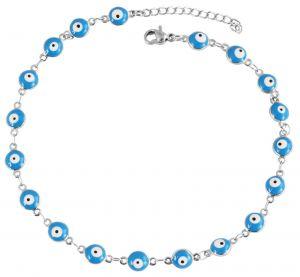 Fußkettchen Türkisches Auge 24 cm Akzent Fußkette Fußschmuck blau