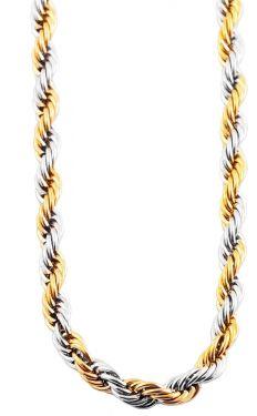 Collier Kordelkette Bicolor Edelstahlkette gold-silber-farbig 70 cm Halskette