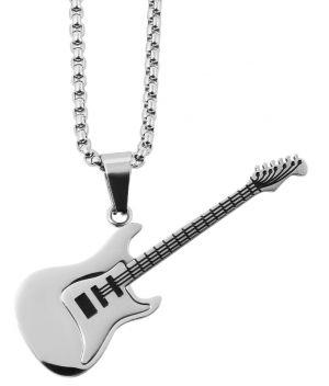 Halskette mit Anhänger Gitarre silberfarbig Edelstahlkette