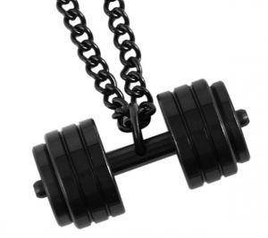 Edelstahl Halskette Hantel Anhänger schwarz 60 cm Kette verschluss