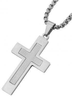 Herren Halskette mit Kreuz Anhänger silber-farbig 61 cm Venezianerkette schräg