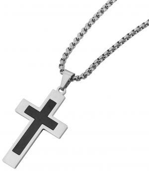 Herren Halskette mit Kreuz Anhänger silber schwarz 61 cm Venezianerkette schräg