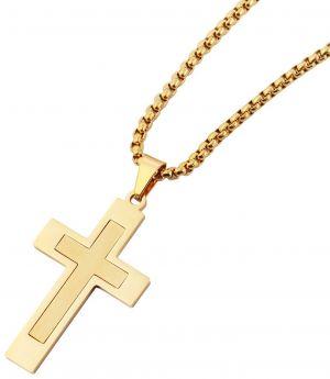 Herren Halskette mit Kreuz Anhänger gold-farbig 61 cm Venezianerkette schräg