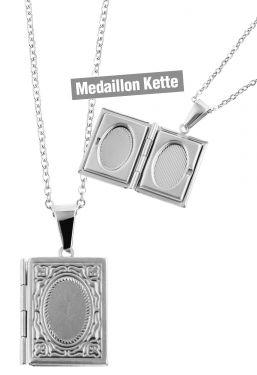 Foto Medaillon Bilder Amulett Rechteck Anhänger Edelstahl-Kette