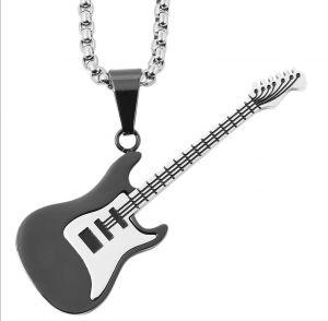 Halskette mit Anhänger Gitarre schwarz silber Edelstahlkette