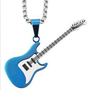 Halskette mit Anhänger Gitarre silber blau glänzend Edelstahlkette