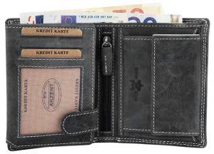Geldbörse Leder Portemonnaie Grau Akzent Hochformat 9x12 cm