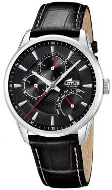 Lotus Herrenuhr Armbanduhr Lederarmband schwarz 15974/D Day/Date
