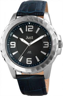 Just Herren Uhr blau JU20145-002 Armbanduhr XXL Echtlederarmband