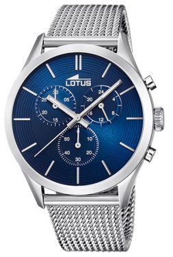Lotus Herren Armbanduhr silber blau 18117/4 Edelstahl Mesharmband