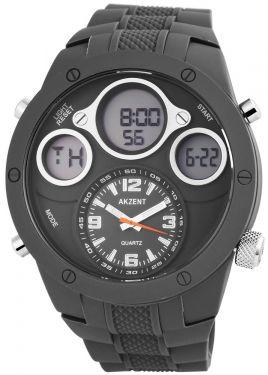 Akzent Herren Uhr Silikon grau Watch Datum zweite Zeitzone Stoppuhr