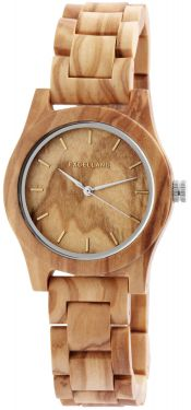 Excellanc Damen Uhr Holz Gliederarmband 1800156-001 Holzuhr hellbraun